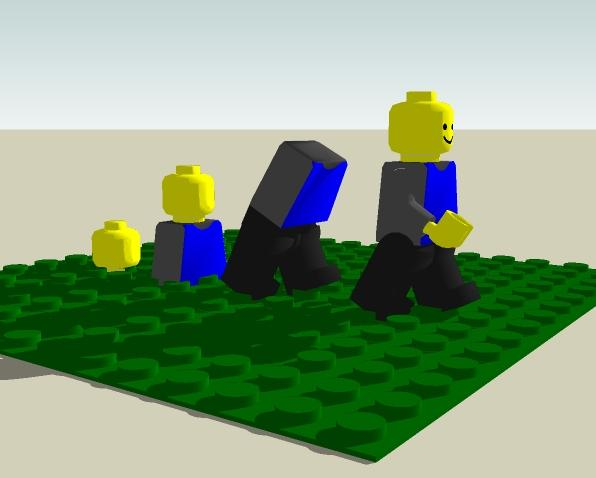 3d rendered picture of an evolutionary lego man